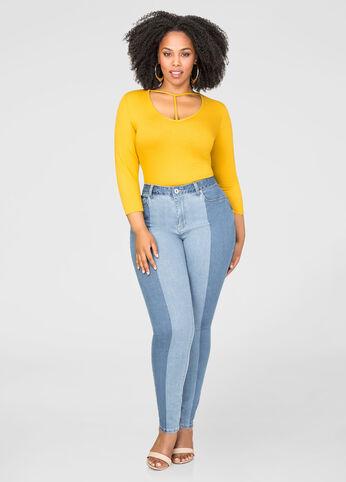 Stripe Wash Skinny Jean