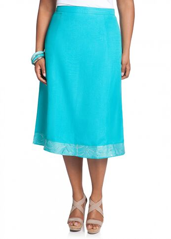 Linen Embellished Full Skirt
