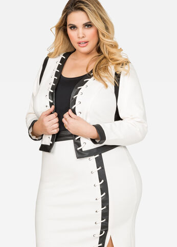 Faux Leather Trim Open Front Jacket
