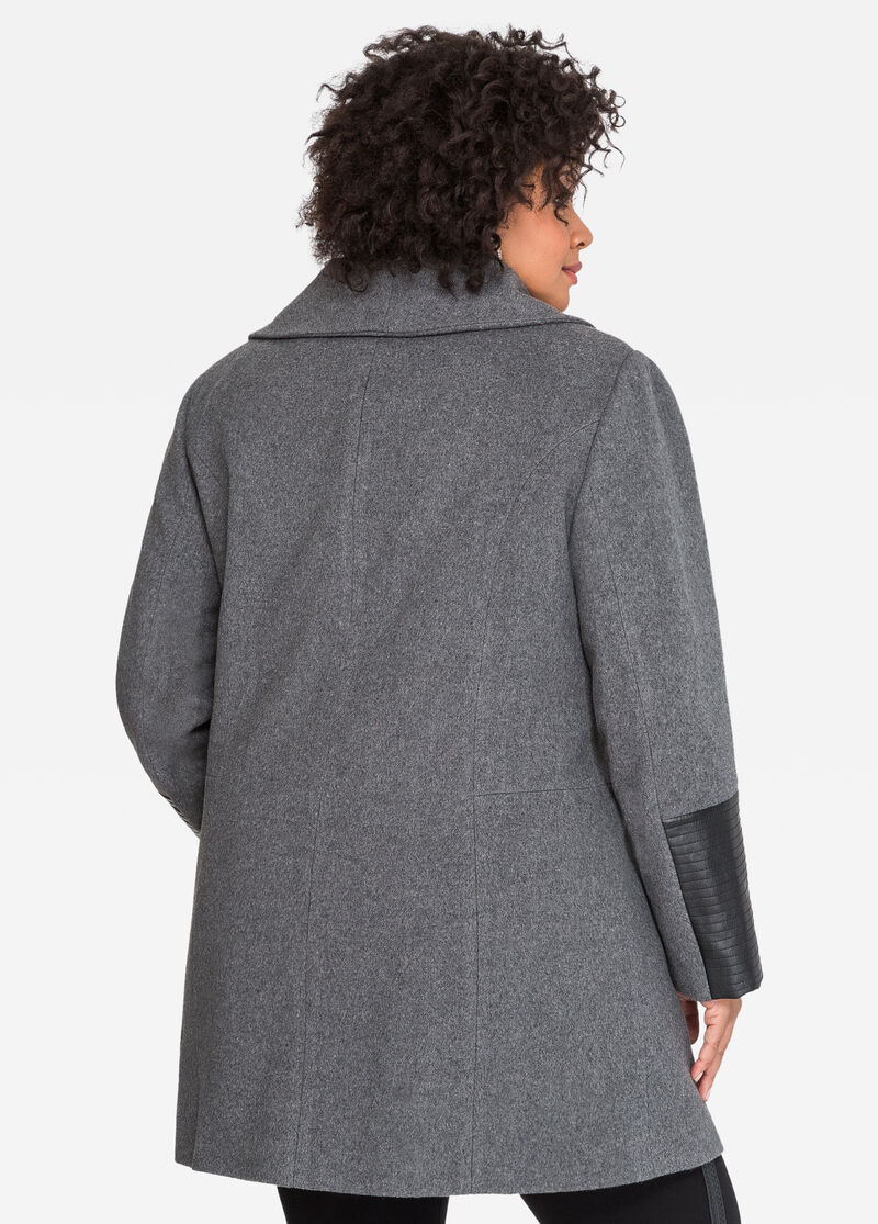 Oversized Collar Wool Winter Coat-Plus Size Winter Coats-Ashley