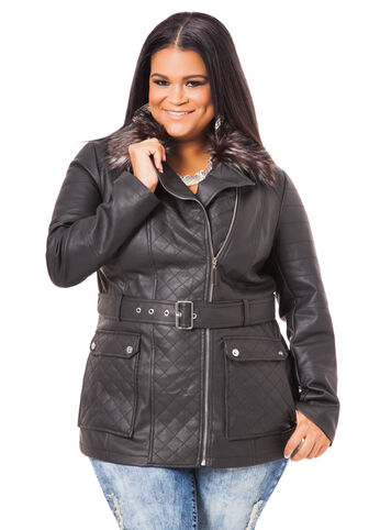 Belted Motorcycle Jacket with Fur Trim