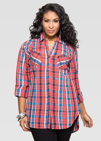 Coral Plaid Hi-Lo Shirt