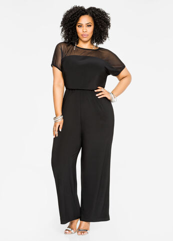 Mesh Yoke Wide Leg Jumpsuit