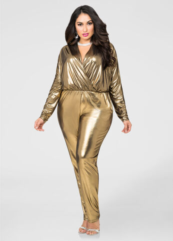 Metallic Lame Surplice Jumpsuit