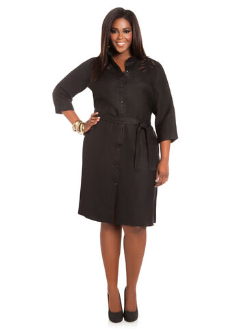 Leaf Cutout Linen Shirtdress