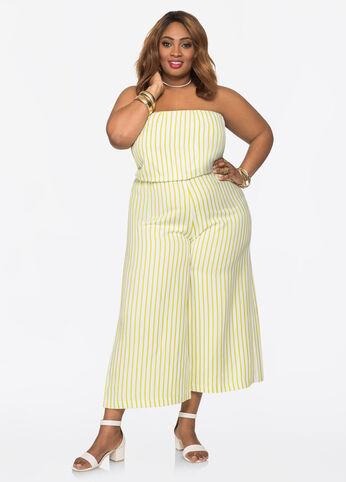Striped Strapless Linen Jumpsuit