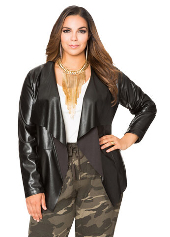 Cascading Collar Faux Leather Jacket