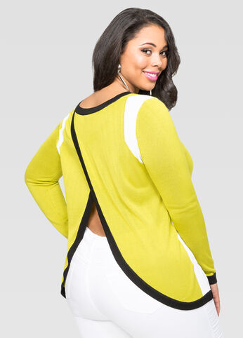Envelope Back Colorblock Sweater