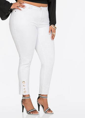 Buy Womens Plus Size White Skinny Jeans - Ashley Stewart