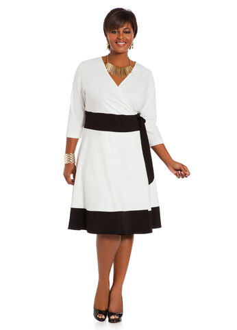 Color Block Mock Wrap Dress