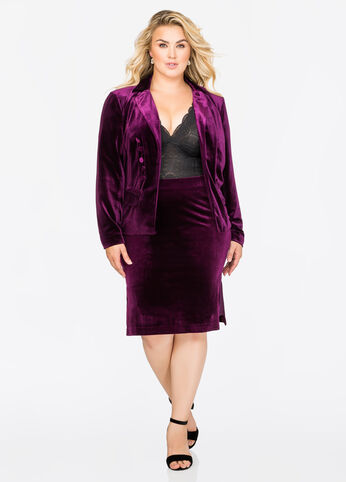 Velvet Side Slit Pencil Skirt
