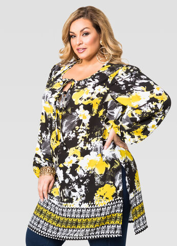 Floral Border Tie Neck Tunic