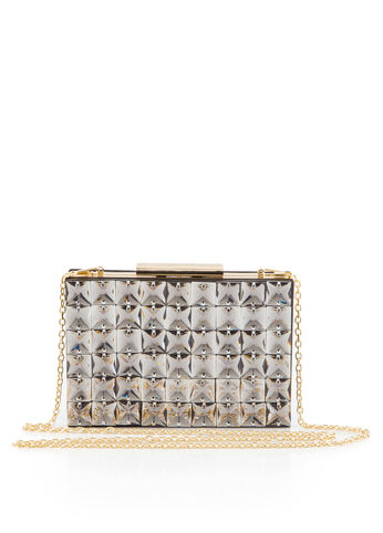 Stone Front Box Clutch Bag