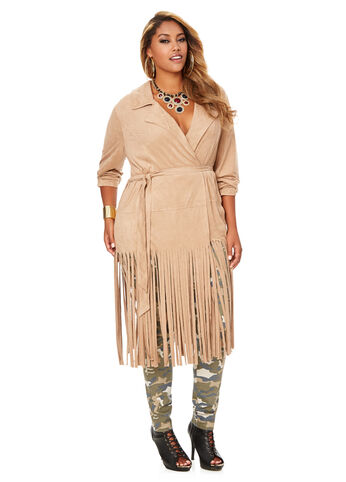 Faux Suede Fringe Trench Coat