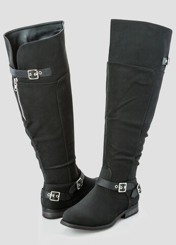 Double Buckle Flat Over The Knee Boot - Wide Width Wide Calf