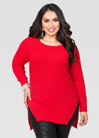 Raglan Hi-Lo Pullover Sweater