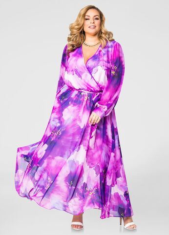 Surplice Floral Maxi Dress