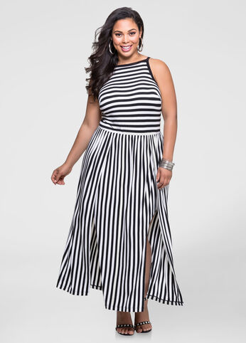 Striped Double Slit Maxi Dress