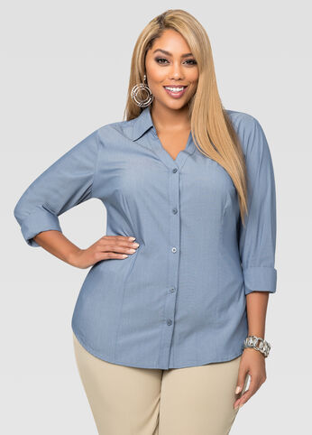Chambray V-Neck Button Front Shirt
