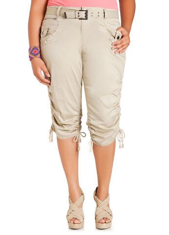 Drawstring Capri Cargo Pants