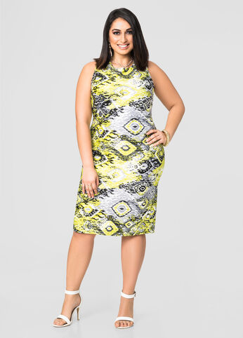 Ikat Scuba Sheath Dress