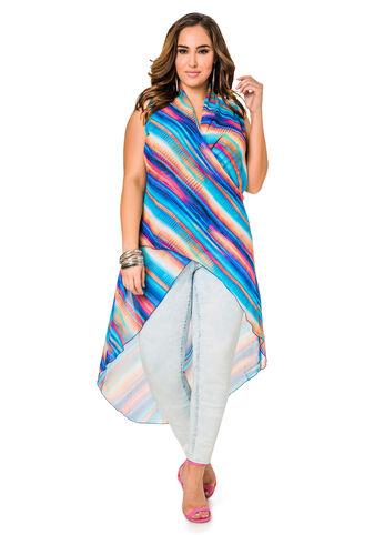 Sheer Tie Dye Hi-Lo Tunic