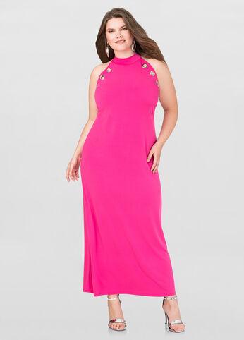 Grommet Mock Neck Maxi Dress