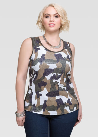 Plus Size Sequin Camo Print Tank Top Camo