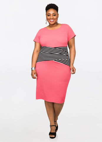 Banded Stripe Waist Popover Dress