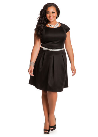 Pleated Front Capsleeve Skater Dress