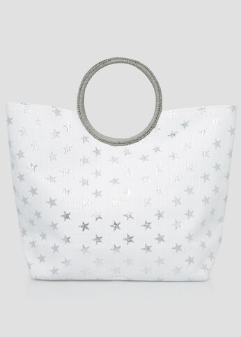Large Star Straw Tote in Silver