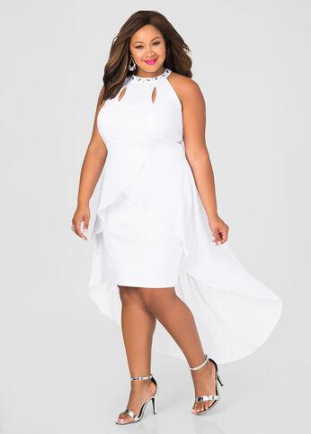 Chiffon Overlay Bodycon Dress