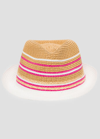 Multi Stripe Straw Fedora Hat