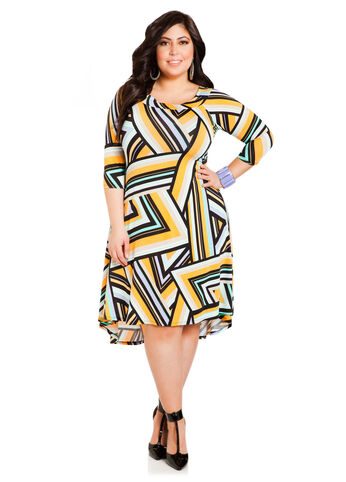 Abstract Brights Hi-Lo Dress