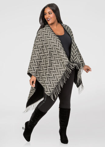 Reversible Chevron Fringe Ruana at Ashley Stewart