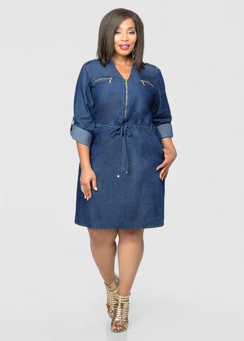 Drawstring Zip Front Denim Dress