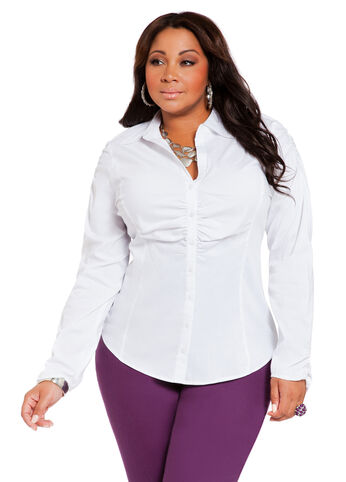 Ruched Front Button Down
