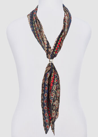 Pleated Diamond Paisley Skinny Scarf at Ashley Stewart