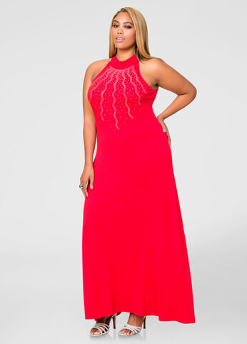 Starburst Stud Mock Neck Maxi Dress