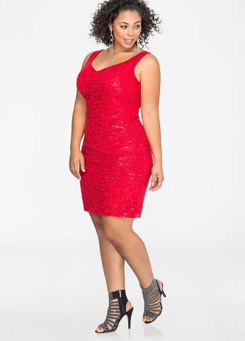 Sequin Lace Sweetheart Bodycon Dress