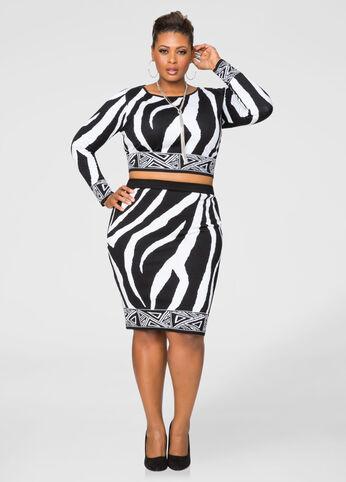 Mixed Zebra Print Pencil Skirt