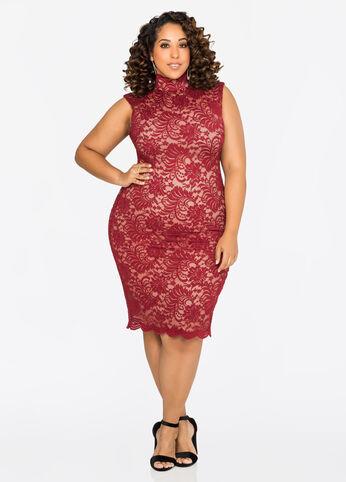 Mock Neck Lace Sheath Dress