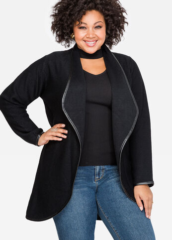 Faux Leather Open Front Cardigan