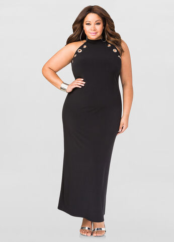 Grommet Mock Neck Maxi Dress