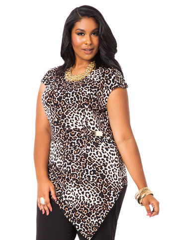 Leopard Print Asymmetrical Top