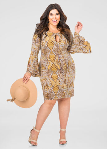 Printed Bell Sleeve Keyhole Dress