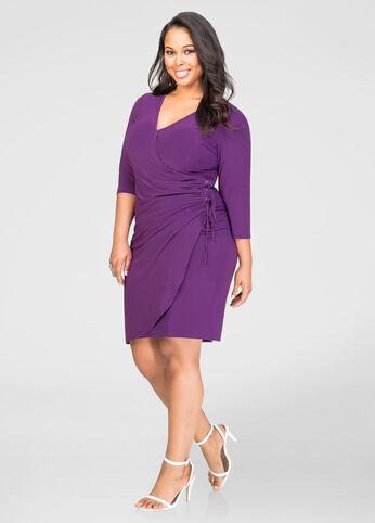 Grommet Lace-Up Side Dress
