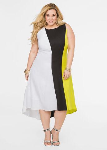 Tri-Tone Linen Midi Dress