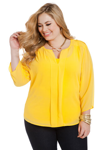 Split V-Neck Georgette Blouse