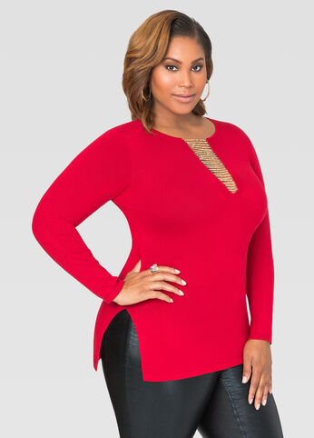 Fitted Chain Neck Sweater
